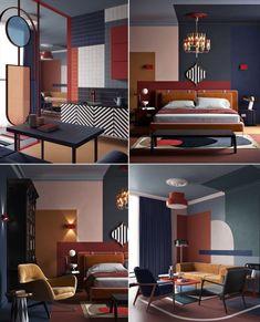 Retro Interior Design, Modern Interior, Interior Styling, Interior Architecture, Interior Decorating, Interior Bauhaus, Interiores Art Deco, Style Deco, Home Room Design