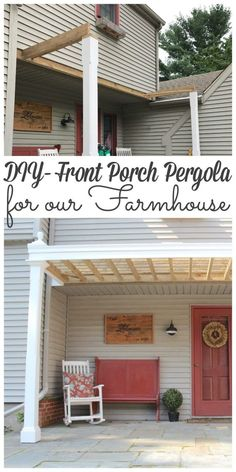 Every farmhouse needs a front porch! Sharing how we created a front pergola for our farmhouse for around $300!!! #Farmhouse #diy #farmhousefrontporch #pergola http://lehmanlane.net