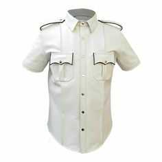 Men's Genuine Leather White Shirt Police Style Bluff Gay Shirt Special Design by ScanzaLeatherGear on Etsy Gay Shirts, Police Shirts, Police Uniforms, Uniform Shirts, Mens Leather Shirt, Vintage Leather Jacket, Leather Men, Real Leather, Sheep Leather