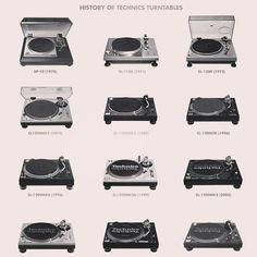 History of Technics turntables, via one of the greatest pages on Facebook, Acid Casuals. www.facebook.com/pages/Acid-Casuals/523834450977082
