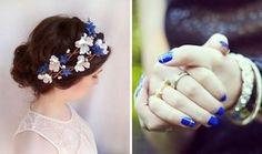 Couronne de fleurs et manucure bleue pour mariée