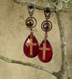 Red Prism earrings Rosary Cross charm drops by vintagesparkles, $55.00