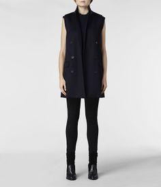 Womens Aphex Sleeveless Coat (Ink) | ALLSAINTS.com