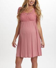 Look at this #zulilyfind! PinkBlush Dusty Pink Lace Maternity Empire-Waist Dress by PinkBlush Maternity #zulilyfinds