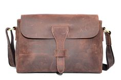 Vintage Style Top Grain Leather Men Messenger Shoulder Bag Crossbody Bag YD008