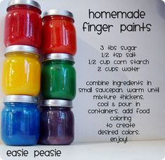 homemade finger paints -- use baby food jars to store.