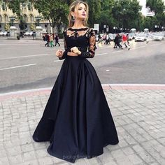 Two Piece Black A Line Lace Top Long Sleeves Formal Prom Dress Black Lace Prom Dresses, Black Prom Dresses, Prom Dresses A-Line, Prom Dresses Lace, Prom Dress Prom Dresses 2019 Prom Dress Black, Prom Dresses Two Piece, Prom Dresses 2016, Prom Dresses Long With Sleeves, Prom Party Dresses, Formal Dresses, Dress Prom, Formal Prom, Prom Gowns