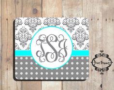 Personalized Mouse Pad Grey Damask Mouse Pad Grey by PrintBiscuit