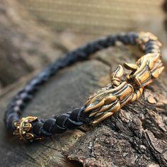 Cabezas de lobo de bronce hecho a mano trenzada por MAGICrebEL