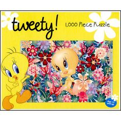 """Tweety 1000 Piece Puzzle: Tweety Bird is as cute as a button among colorful butterflies and flowers in full bloom. Perfect for any Tweety fan! This 1000 piece jigsaw puzzle measures 19 5/8"""" x 29 1/2"""" when complete and is intended for ages 12 and up.  $14.99  http://calendars.com/Kids-TV/Tweety-1000-Piece-Puzzle/prod201100014044/?categoryId=cat00071=cat00071#"""