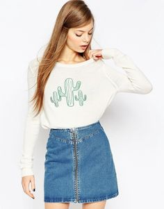 Image 1 of ASOS Sweater with Cactus Detail