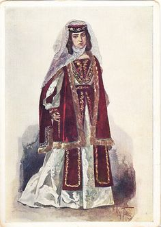 Postcard – Max Tilke – People of the Caucasus Series, 01 - Georgians, A Kartlelian Woman | Flickr - From the Collection of Bonnie Naifeh and David Smith