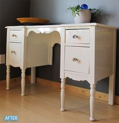 refinished desks -- diy glass knobs. wonder if she used that glass pendant/magnet technique? @Better After: Jealousy and Deskpair.