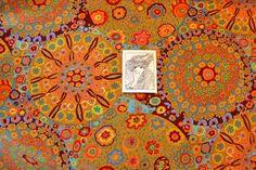 Designerstoffe USA - 0,5 m x 110 cm S157 Fassett-Millefiori-Orange - ein Designerstück von stoefflerin bei DaWanda