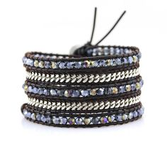 Twilight Blue Crystals and Silver Chain on Dark Brown Leather Wrap Bracelet by Katie Joelle