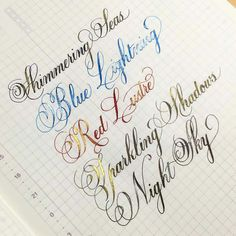 Shimmertastic inks.  Photo and penmanship by Susan Lui.
