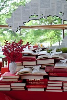 "So this book-themed party from New York City event designer David Stark, struck just the right chord. The invite for this birthday luncheon at Arena Stage in Washington. D.C. which read ""Life is made up of a series of stories. You are an important part of mine,"" set the tone for the event."
