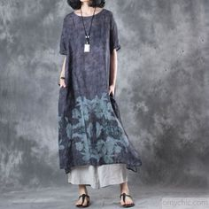 2017 baggy dark gray prints vintage linen dresses plus size casual sundress short sleeve maxi dressThis dress is made of cotton linen fabric, soft and breathy, suitable for summer, so loose dresses to make you comfortable all the time.Flattering cut. Makes you look slimmer and matches easlily. Materials used:linenMeasurement:One size fits all for this item. Please make sure your size doesn't exceed this size: 3XL/BUST-116cm bust 116cm / 45.24Waist 126cm / 49.14