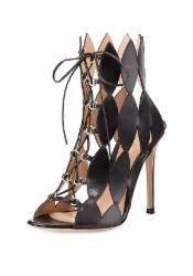 Diamond Cutout Lace-Up Sandal, Nero - Gianvito Rossi - Nero (37.5B/7.5B)