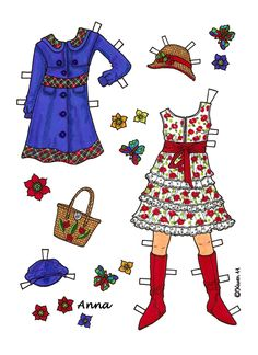 Karen`s Paper Dolls: Anna 1-6 Paper Doll to Print in Colours. Anna 1-6…