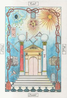 Freemasonry:  #Freemasonry Tapis de Loge d'Apprenti (XVIII° siècle) ~ Carpet or Mat of the Apprentice Lodge (18th century). Note the resemblance to the Tarot's High Priestess card, with the Pillars Boaz and Jachin, which were the two brass, bronze, or copper frontal pillars that stood in Solomon's Temple, the first Temple in Jerusalem.