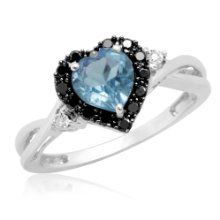 Blue Diamond Shop are delighted to offer the famous 10k White Gold Heart Shaped Blue Topaz with Round Black and White Diamonds Ring, Size 6.    With so many on offer right now, it is good to have a brand you can trust. The 10k White Gold Heart Shaped Blue Topaz with Round Black and White Diamonds Ring, Size 6 is certainly that and will be a superb purchase.