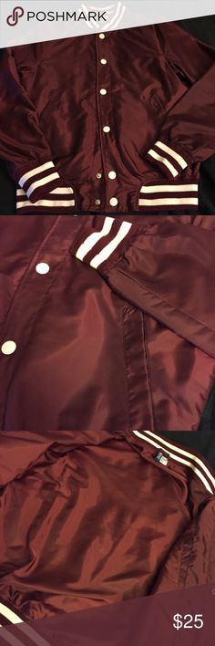 H&M (Divided) Maroon Baseball Jacket H&M Divided  NEW  Never worn, great condition. Lightweight  100% Polyester  Full Snap-button Jacket  3 pockets (2 side pockets/1 inner pocket  Color: Maroon Strip cuff, collar and waistband   NO TRADES, NO HOLDS  Regular price $35 H&M Jackets & Coats Bomber & Varsity