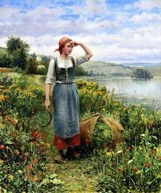 A Field of Flowers by Daniel Ridgway Knight Buy Paintings Online, Online Painting, Oil Painting Gallery, Painting & Drawing, Paris 3, Jean Marie, Popular Artists, Antique Paint, Old Master
