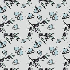 Olives and Butterflies - Blue © Kristopher K  2010 fabric by kristopherk.