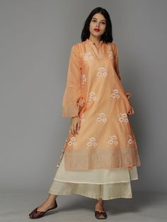 Orange Floral Block Printed Chanderi Kurta with Lining and Palazzo - Set of 3
