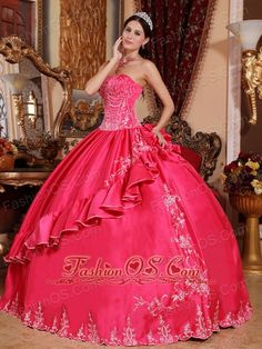 Gorgeous Hot Pink Quinceanera Dress Strapless Satin and Taffeta Embroidery Ball Gown  http://www.fashionos.com Traditional ball gowns never go out of style and new adaptations are constantly being created by formal fashion designers to create new twists on these classic styles. This gown features a pretty strapless bodice with lots of pretty beadwork. More of the same beadwork embellishes the hem of the dress and make the dress riches and honor.