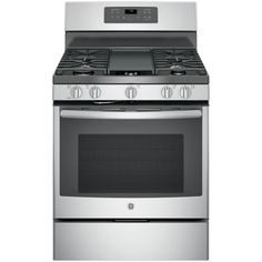 GE 5.0 cu. ft. Gas Range with Self-Cleaning Convection Oven in Stainless Steel-JGB700SEJSS - The Home Depot