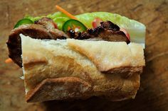 Caramelized Pork Banh Mi - easily one of the best sandwiches I've ever had. Sloppy Joe, Sandwich Recipes, Banh Mi Recipe, Vietnamese Sandwich, Vietnamese Pork, Vietnamese Recipes, Great Recipes, Favorite Recipes, Gourmet