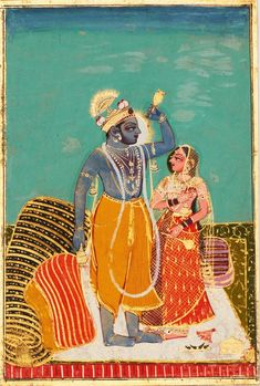 Krishna and Radha Standing on a Bed - Rajput Painting, Kota, C. 1720-40
