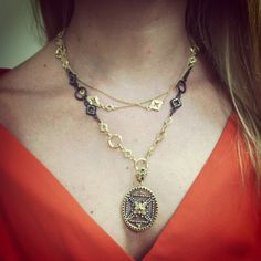 Snagged @thejulesjournal layered in Armenta Jewelry -- Love how she mixed heavy and light chains together!