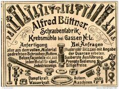 Original-Werbung/ Anzeige 1905 : ALFRED BÜTTNER SCHRAUBENFABRIK / KREBSMÜHLE BEI GASSEN - ca. 100 x 70 mm