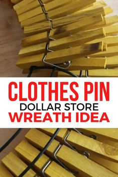 clothes pin wreath Do you love making wreaths year round check out this quick and easy clothes pins craft project. Sunflower Crafts, Sunflower Wreaths, Dollar Tree Decor, Dollar Tree Crafts, Wreath Crafts, Diy Wreath, Wreath Ideas, Door Wreaths, Cork Crafts
