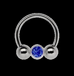 Lippen-Piercing Titan Schwarz 1,2 Multi Kristall Kugel Saphir Blau5-12 mm