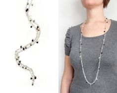 Long chain necklace glass pendants grey black clear beads by tline, $44.00