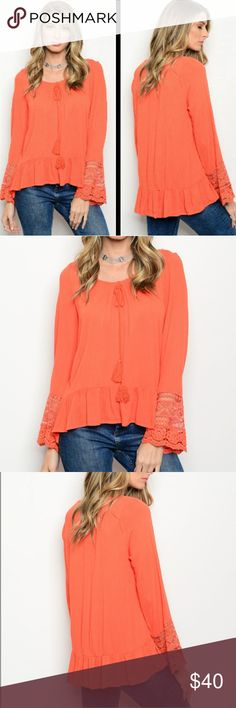 🆕3PACK ORANGE EMBROIDERED PEASANT TOP ❗THIS IS A WHOLESALE LISTING ❗  Gorgeous long bell sleeve yolk tie crochet detail peasant blouse. Tassled ties. Emrbroidered mesh sleeve details.   ☞3PACK: 1/Medium  2/LARGE ☞MSRP: $34 Each  🍃I.G:@JMAYORGA91   ❌❌❌PRICE FIRM❌❌❌ Tops