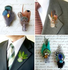 On the verge of being too hipster....feather boutonnieres!