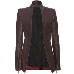 Haider Ackermann Kills Leather Jacket ($1,853) ❤ liked on Polyvore featuring outerwear, jackets, blazers, coats, coats & jackets, bordeaux, vintage jacket, zipper leather jacket, real leather jacket and leather jacket