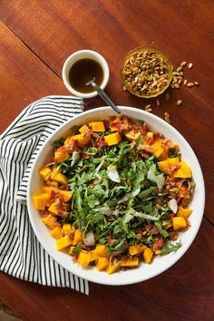 Warm Pumpkin Salad with Bacon and PumpkinSeeds - Read More at Relish.com Substitute with butternut squash. My new favorite!