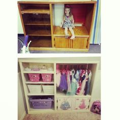 Changed a old entertainment center into a dressup wardrobe.