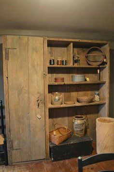 Great storage for old door finds Primitive Home Decorating, Rustic Primitive Decor, Primitive Homes, Primitive Furniture, Primitive Kitchen, Primitive Cabinets, Primitive Labels, Plain English Kitchen, Country Cupboard