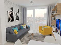 żółty fotel, salon otwart na kuchnię Easy A, Small Studio Apartments, Living Room Modern, Living Rooms, Interior Design, Home Decor, Flat, Future, Bar Home