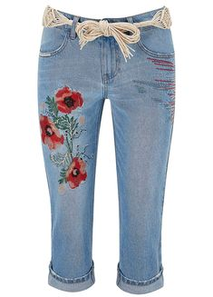 Beautiful Embroidered Cropped Jeans by Joe Browns