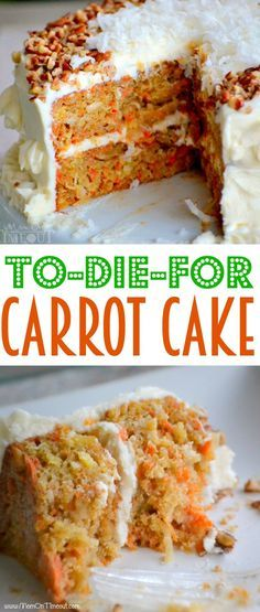 To-Die-For Carrot Cake - The BEST Carrot Cake you'll ever try! (...and it's made with applesauce!)| MomOnTimeout.com |#recipe #cake #dessert