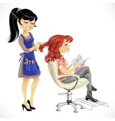 Barber combing cute client girl vector image on VectorStock