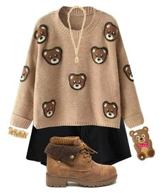 """Teddy Bear Comfort"" by drakona ❤ liked on Polyvore featuring claire's, Moschino and beautifulhalo"